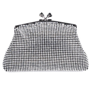 Black Soft Mesh Swarovski Crystal Clutch by Bobby Schandra