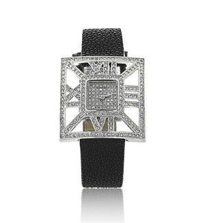 Black Sting Ray Modern Swarovski Crystal Designer Watch