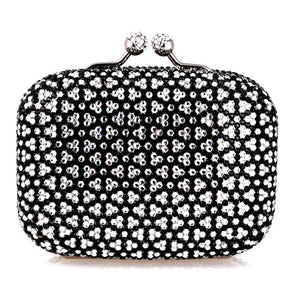 Black and White Flower Clutch w/ Swarovski Crystals by Bobby Schandra