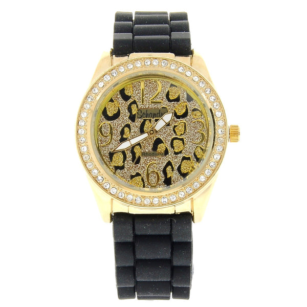 Black and Gold Animal Print Rubber Watch