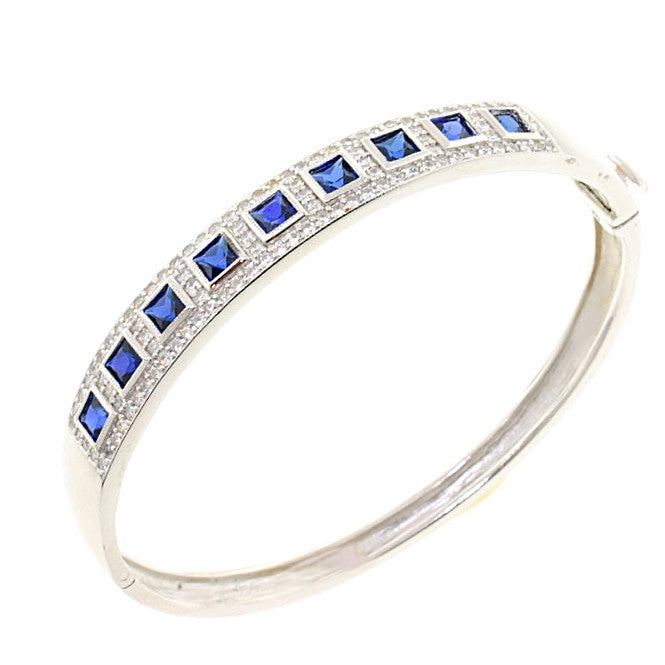 Chandi Diamond Blue CZ Crystal Bangle Bracelet by Bobby Schandra