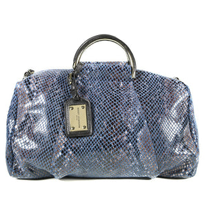 Blue Patent Leather Snake Print Satchel Bag