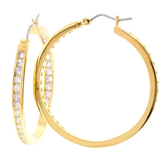 502b913d45f9 Large Gold Plated Chandi Diamond Hoop Earrings by Bobby Schandra