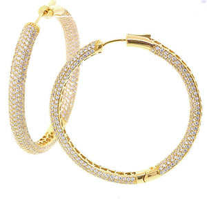 Large Gold Plated Chandi Diamond Hoop Earrings by Bobby Schandra