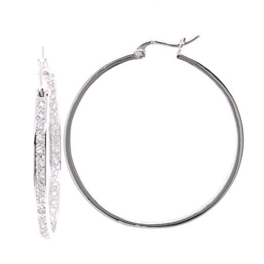 Bobby Schandra Designer Large Silver Plated Crystal Hoop Earrings 1.85""