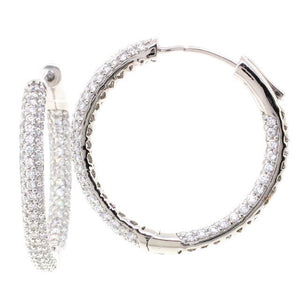 Bobby Schandra Designer Large Silver Plated Hoop Earrings with Crystals