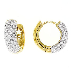 Bobby Schandra Designer Small Gold Plated Crystal Huggie Hoop Earrings