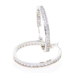 Bobby Schandra Designer Small Silver Plated Crystal Hoop Earrings
