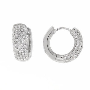 Bobby Schandra Designer Small Silver Plated Crystal Huggie Hoop Earrings