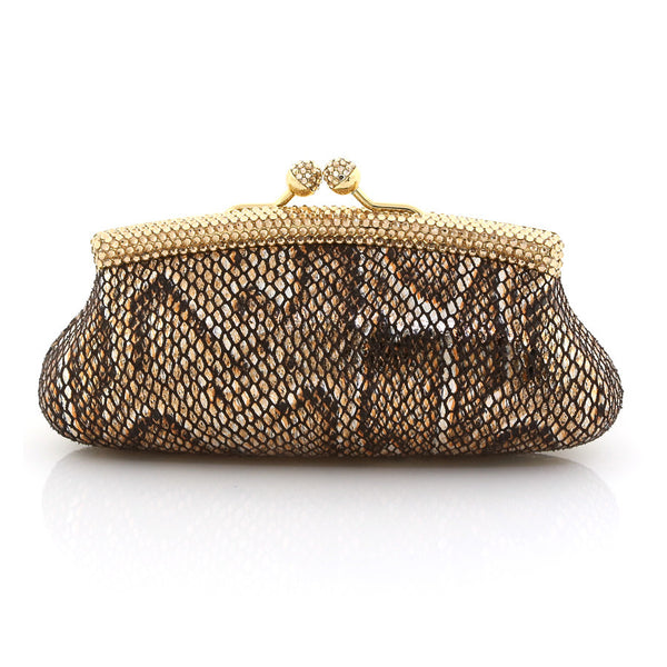 Bronze and Gold Snake Skin Clutch w/ Swarovski Crystals