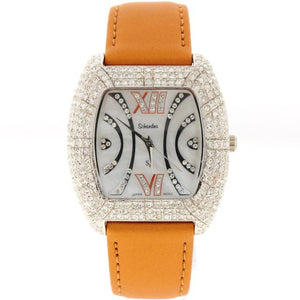 bronze satin swarovski crystal watch
