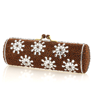 Brown Sunflower Swarovski Crystal Evening Clutch