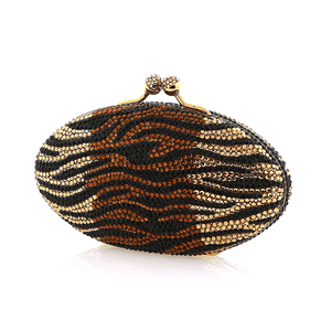 Brown Zebra Swarovski Crystal Evening Clutch