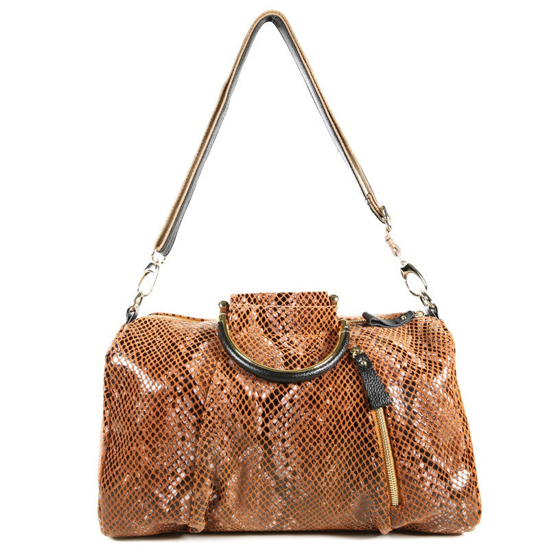 Camel Orange Patent Leather Snake Print Satchel Bag