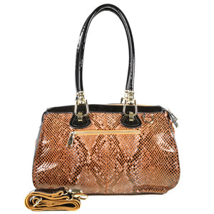 Camel Orange Patent Leather Snake Print Satchel Tote