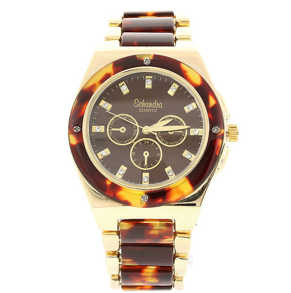 Classic Tortoise Shell Crystal Link Watch
