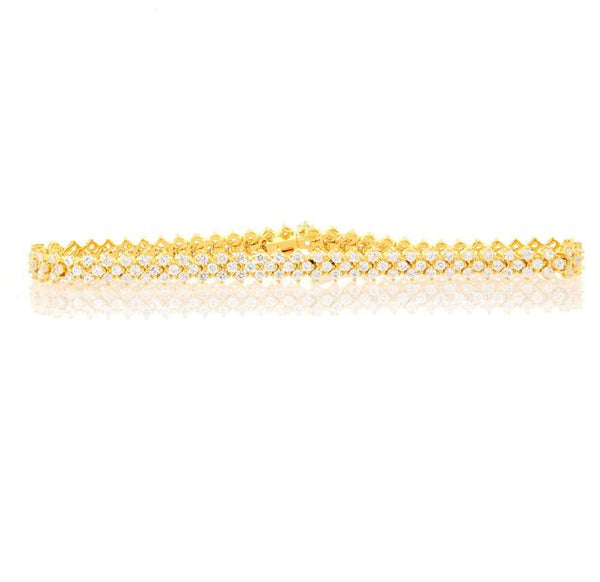 Chandi Diamond Gold and CZ Tennis Bracelet by Bobby Schandra