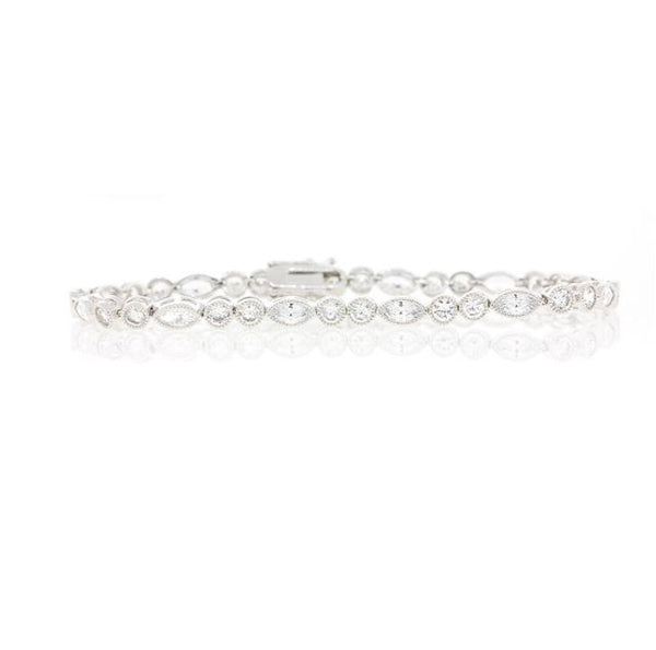 Chandi Diamond Silver and CZ Tennis Bracelet by Bobby Schandra