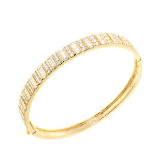 Chandi Diamond Round and Square Cut Gold CZ Crystal Bangle Bracelet by Bobby Schandra