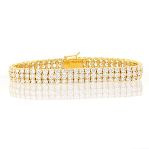 Chandi Diamond Gold 3 Row Round CZ Tennis Bracelet by Bobby Schandra