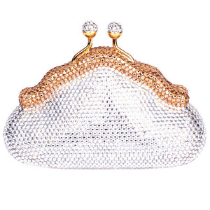 bronze and clear swarovski crystal clutch