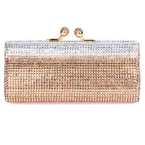 Bronze Gold and Clear Swarovski Crystal Evening Clutch