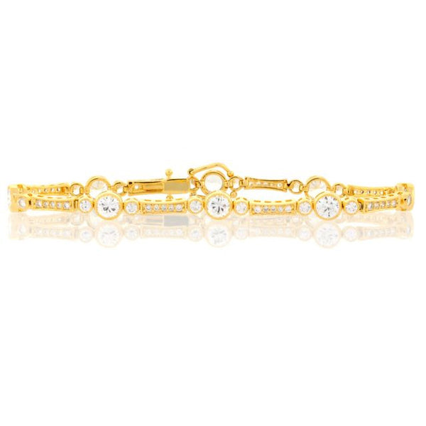 Chandi Diamond Gold and CZ Bezel Tennis Bracelet by Bobby Schandra