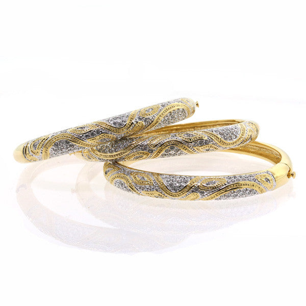 Chandi Diamond Gold and Silver Leopard Bangle Bracelet Swarovski Crystal by Bobby Schandra