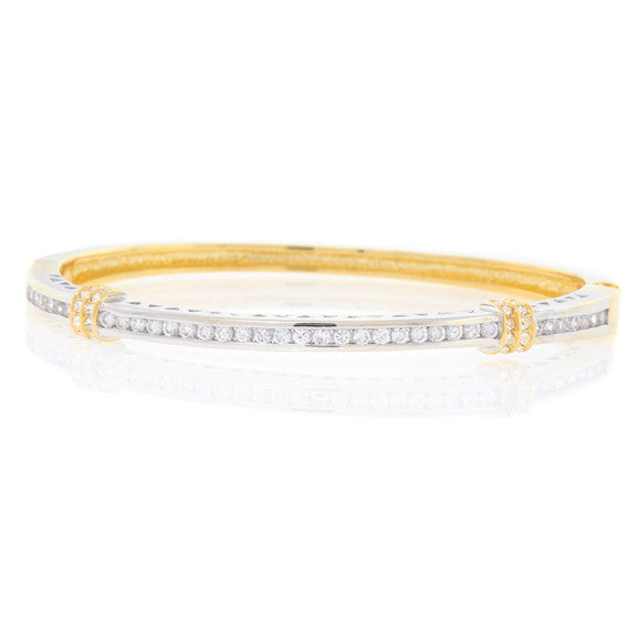 Gold and Silver Round CZ Bangle