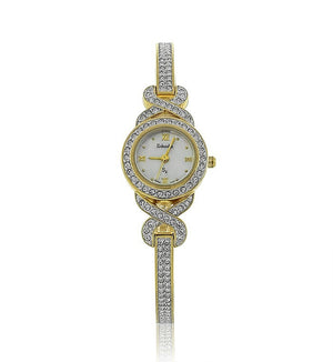 Gold and Silver Two Toned Round Swarovski Crystal Pearl Face Designer Watch