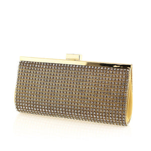 Gold Mesh Swarovski Crystal Clutch