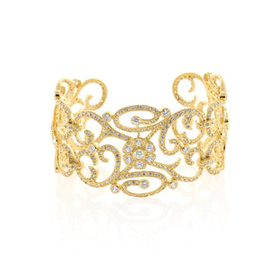 Chandi Diamond Gold CZ Cuff by Bobby Schandra