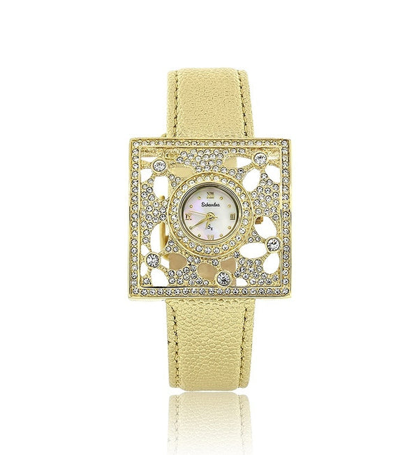 Gold Leather Swarovski Crystal Watch
