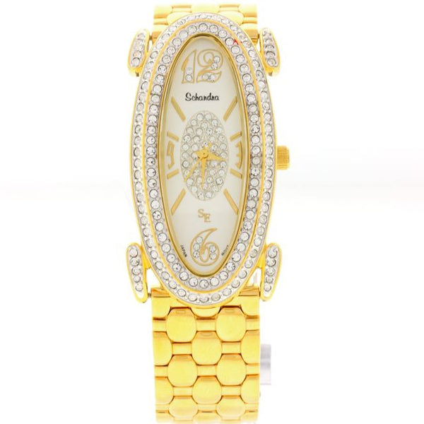 Chandi Diamond Gold Oval with Swarovski Crystal watch by Bobby Schandra