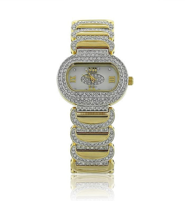 Gold Oval Swarovski Crystal Pearl Face Watch