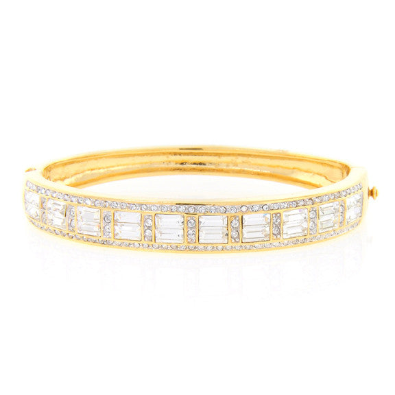 Chandi Diamond Gold Pave Swarovski Crystal Bracelet by Bobby Schandra
