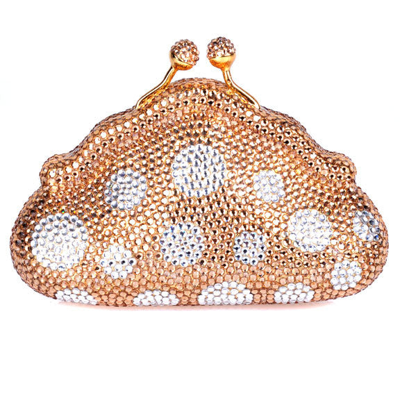 Gold Polka Dot Small Swarovski Crystal Clutch