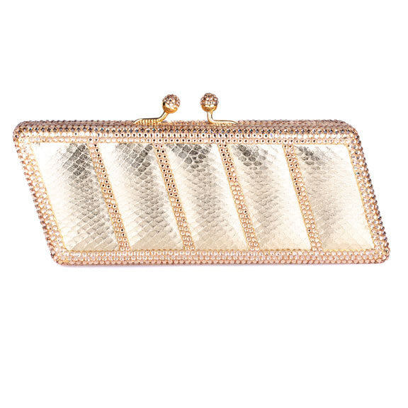 gold leather and swarovski crystal clutch Bobby Schandra