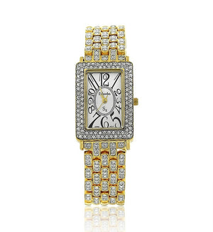 Gold Rectangle Swarovski Crystal Pearl Face Designer Watch