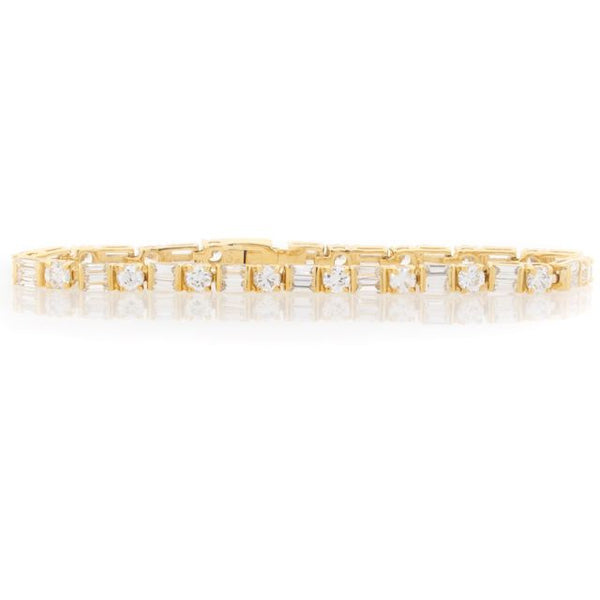 Chandi Diamond Gold Round and Square CZ Tennis Bracelet by Bobby Schandra