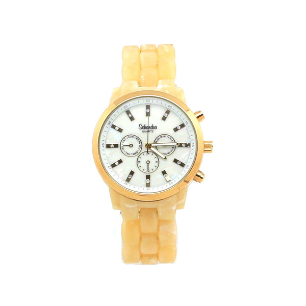 Large Gold and Horn Crystal Fashion Watch
