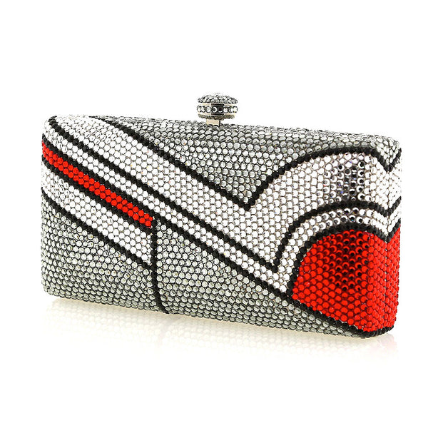 Gray and Red Modern Swarovski Crystal Evening Clutch