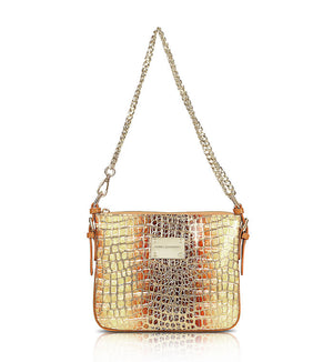 Designer Leather Messenger Handbag: Honey Gold Crocodile Print