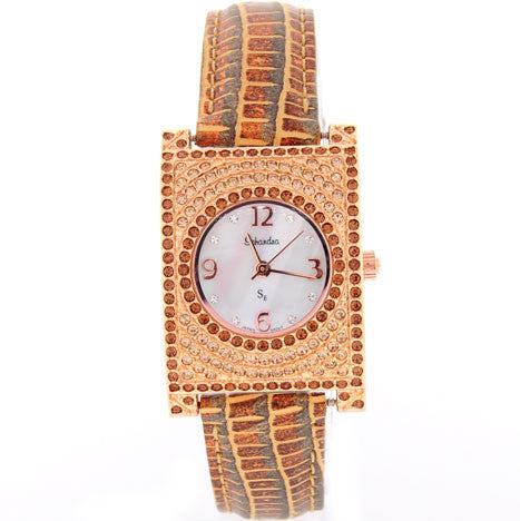 Rectangle Swarovski Crystal Bronze Watch