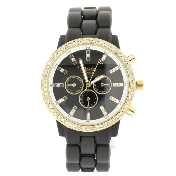 Large Black and Gold Crystal link watch