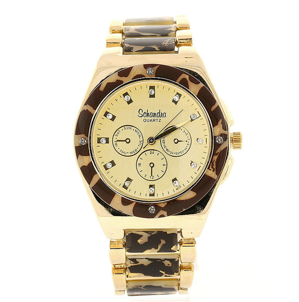 Leopard Acrylic Crystal Link Watch