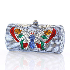 Light Blue Butterfly Swarovski Crystal Clutch
