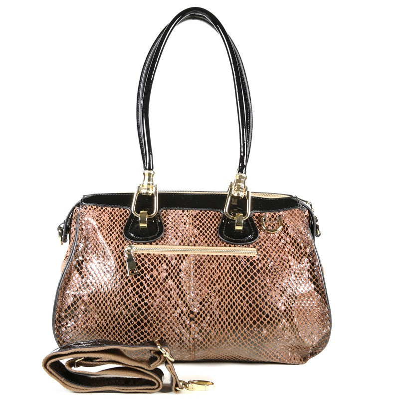 Light Brown Patent Leather Snake Print Satchel Tote