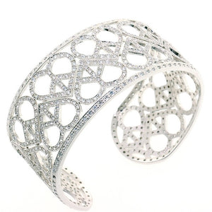 Chandi Diamond Love and Peace Cuff CZ Crystal Bangle Bracelet by Bobby Schandra