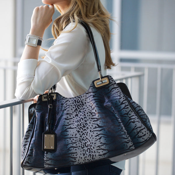 luxury-leather-blue-tote-bag-handbag-black-white